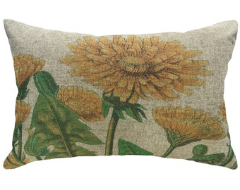 Yellow Flowers Throw Pillow, Linen Lumbar Pillow, French