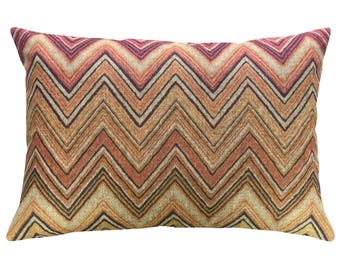 Chevron Throw Pillow, Linen Lumbar Pillow, Worldly