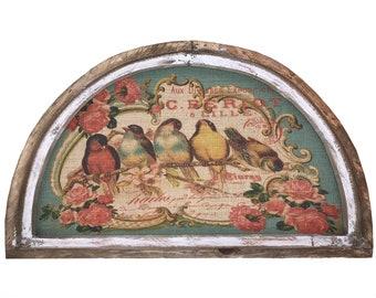 "French Birds Wall Art | 30"" x 18"" | Arch Window Frame | Burlap Wall Hanging | French Farmhouse Decor |"