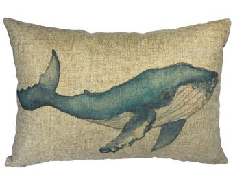 Blue Whale Throw Pillow, Linen Lumbar Pillow, Nautical