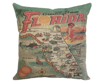 "Greetings From Florida Map Linen Throw Pillow 15"" x 15"""