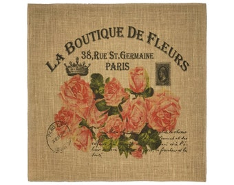 Roses Burlap Fabric, Printed Fabric Panel for Upholstery and Framing