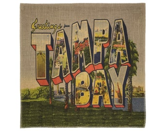 Tampa Bay Burlap Fabric, Printed Fabric Panel for Upholstery and Framing