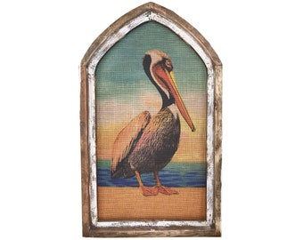 "Pelican Wall Art | Arch Window Frame | Burlap Wall Hanging | Coastal Decor | 18"" x 30"""
