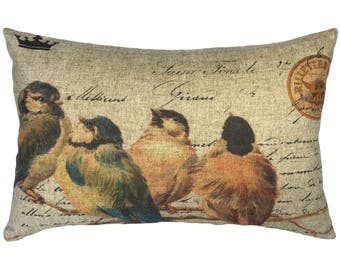 Brown Birds Throw Pillow, Rustic Linen Lumbar Pillow, French