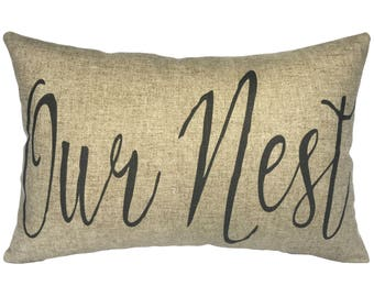 Our Nest Typography Throw Pillow, Linen Lumbar Pillow