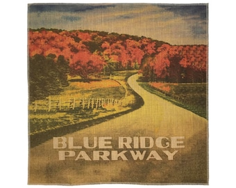 Blue Ridge Parkway Burlap Fabric, Printed Fabric Panel for Upholstery and Framing