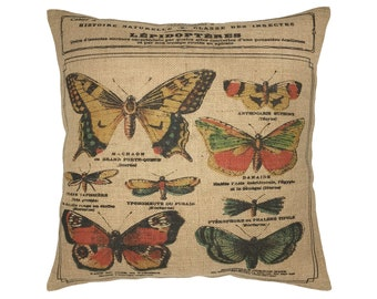 "Butterfly Burlap Pillow I 18"" x 18"" Country Farmhouse Pillow I Grain Sack"