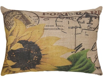 Sunflower Burlap Pillow, French Script, French Farmhouse, 18x12