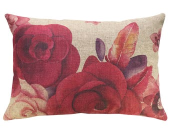 Watercolor Roses Throw Pillow, Linen Lumbar Pillow, French