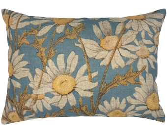 Daisy Throw Pillow, Floral Linen Lumbar Pillow, Blue