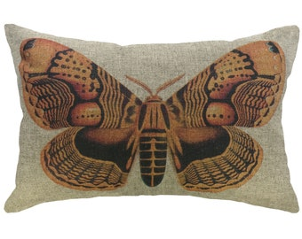 Orange Moth Throw Pillow, Linen Lumbar Pillow, Cottage