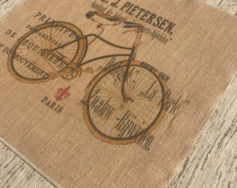 French Bike Burlap Panel, Printed Fabric