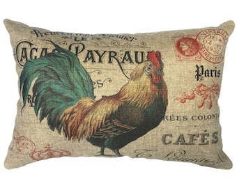 French Chicken Throw Pillow, Linen Lumbar Pillow, Rustic