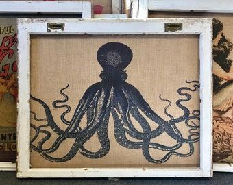 "Octopus Wall Art | Antique Window Frame Decor | Burlap Wall Hanging | 34.5"" x 28"""