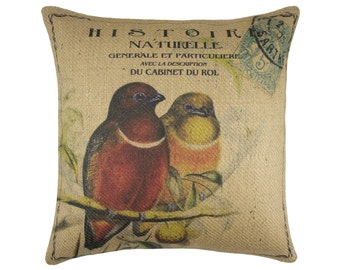 Burlap Pillow of Birds on Branch, French Country, Rustic