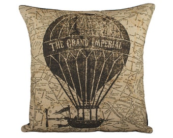 Hot Air Balloon Pillow Cover, Flying Machine with Map Pillow, Steampunk, Sepia, Browns, Decorative Throw Pillow, 16""