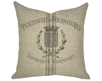 Grain Sack Throw Pillow | Striped Linen Pillow | French Farmhouse Decor