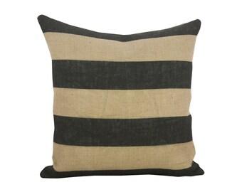 Large Stripe Pillow, Burlap Industrial Accent, Black