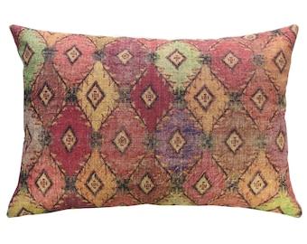 Geometric Diamonds Throw Pillow, Linen Lumbar Pillow, Worldly