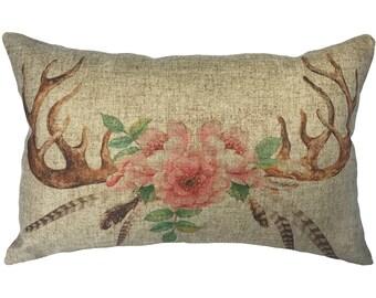 Deer Horns Floral Throw Pillow, Linen Lumbar Pillow, Cottage
