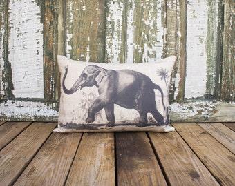 Elephant Pillow, Safari Chic, Decorative Throw Pillow, Lumbar