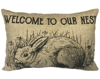 Rabbit Throw Pillow, Our Nest Linen Lumbar Pillow