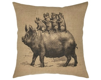 "Pigs Burlap Pillow I 18"" x 18"" French Farmhouse Pillow I Grain Sack"