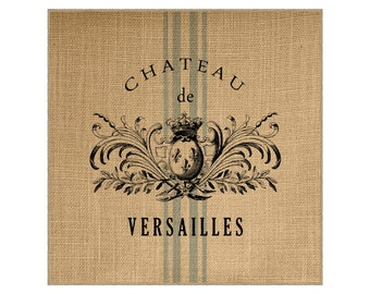 Chateau Grainsack Burlap Panel, Reproduction Printed Fabric