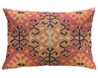 Geometric Orange Throw Pillow, Linen Lumbar Pillow, Worldly