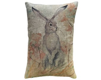 Hare Throw Pillow, Rustic Linen Lumbar Pillow, Bunny