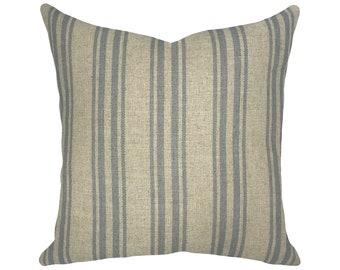 Striped Grain Sack Throw Pillow | Striped Linen Pillow | French Farmhouse Decor
