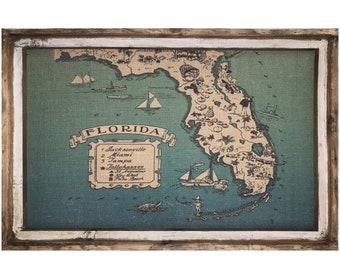 "Florida Map Wall Art | 24"" x 36"" | Window Frame | Coastal Decor | Florida Decor |"