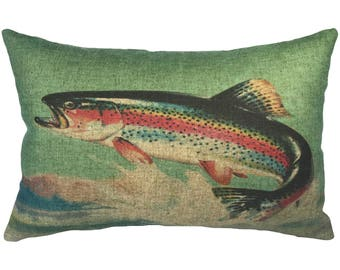 Trout Throw Pillow, Linen Lumbar Pillow, Lake House