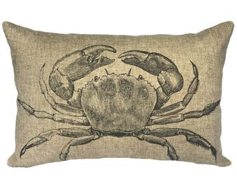 Crab Throw Pillow, Linen Lumbar Pillow, Nautical