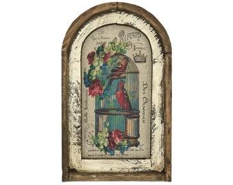 "Birdcage Wall Art | 14"" x 22"" | Arch Window Frame | Linen Wall Hanging | French Farmhouse Decor |"