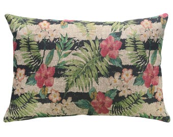 Tropical Throw Pillow, Linen Lumbar Pillow, Coastal