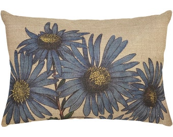 Blue Flowers Burlap Pillow, Grainsack Lumbar Pillow, Country Farmhouse, 18x12