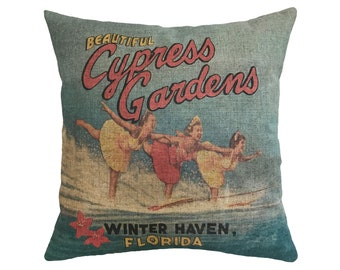 "Cypress Gardens, Florida Linen Throw Pillow 15"" x 15"""