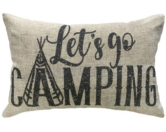 Let's Go Camping Throw Pillow, Linen Lumbar Pillow