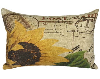 Sunflower Throw Pillow, Linen Lumbar Pillow, Cottage