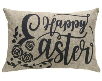 Happy Easter Typography Throw Pillow, Linen Lumbar Pillow