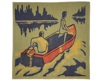 Boating Burlap Fabric, Printed Fabric Panel for Upholstery and Framing
