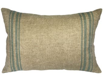 Grainsack Striped Throw Pillow, Shabby Chic Linen Lumbar Pillow, French
