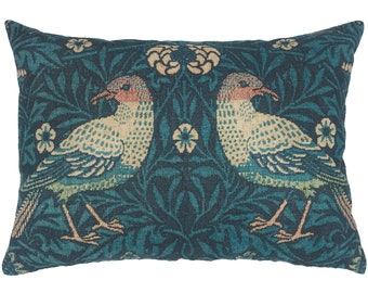 Blue Birds Throw Pillow, Floral Linen Lumbar Pillow, Cottage