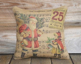 Christmas Pillow, Santa Throw Pillow, The Christmas Tree, Music Notes, Cottage Decor, Burlap Pillow, Red