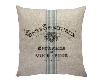 Wine Grainsack Throw Pillow, Linen Pillow, Cottage Chic