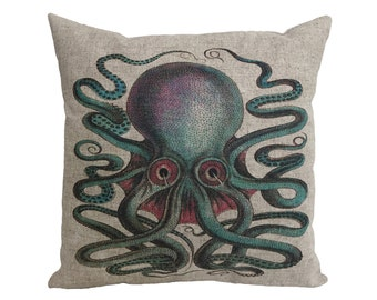 "Colorful Octopus Linen Throw Pillow 15"" x 15"""