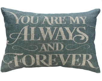 Forever and Always Throw Pillow, Blue Typography, Linen Lumbar Pillow