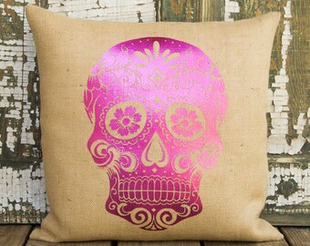 Sugar Skull Pillow, Decorative Throw Pillow, Day of the Dead, Día de los Muertos